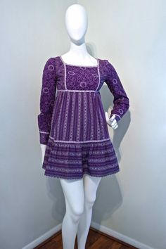 Vintage 1960s PURPLE Mini Dress by Lord & by VicAndBertieVintage