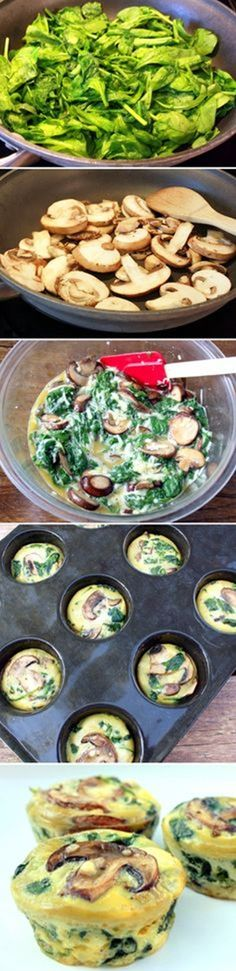 Spinach Egg Cups - egg whites and tomatoes for the week