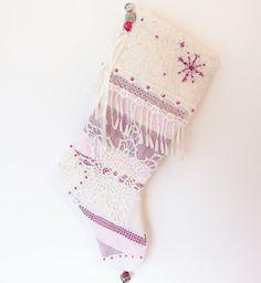 SOLD! Christmas Stocking // Handmade Holiday Striped by BloomingGoddess, $34.99