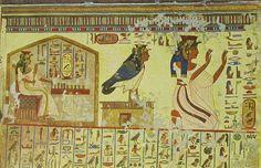 Queen Nefertiti's Tomb | Nefertari playing Senet, and Nefertariwith her Ba.