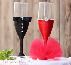 Handmade Wedding Champagne Glasses for Groom and Bride | Elegant Flute Glasses | Wedding Gift | Set of 2 | Red and Black by…