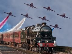 Totally awesome. Train with jet formation above. #Aviation #love