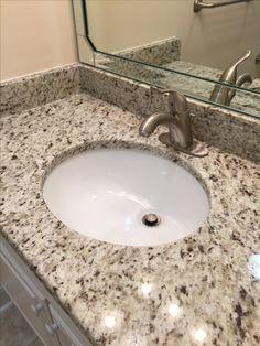 Giallo Verona Granite Vanity, Huntington Brass Faucet, White Cabinet