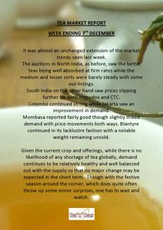 Tea Market Report - for more information check out www.teanteas.com