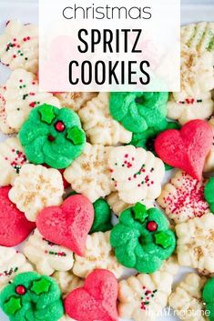 These traditional buttery and sweet spritz cookies are so yummy and a very pretty addition to any baking tray or cookie exchange. #spritzcookies #spritzbuttercookies #cookies #christmas #christmascookies #cookierecipes #holiday #holidaydesserts #holidaycookies #recipes #iheartnaptime Butter Spritz Cookies, Butter Cookies Christmas, Butter Cookies Recipe, Spice Cookies, Holiday Cookies, Holiday Desserts, Holiday Baking, Christmas Baking, Sugar Cookies