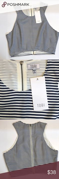 NWT Tobi Top beautiful top from Tobi with off-white and navy stripes   full zippered back   new with tags Tobi Tops