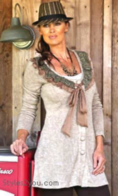 ST Lydia Cardigan/Tunic/Dress In Light Brown