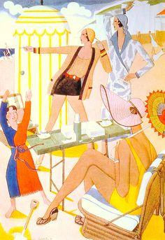 Flapper moderne beach day. Illustration by Eric Frazier photogravure for British magazine 1931. (from The Fine Art of Fashion Illustration by Julian Robinson & Gracie Calvey 2015) (please follow minkshmink on pinterest) #flapper #twenties #pochoir #artdeco #deco #beachwear #swimwear