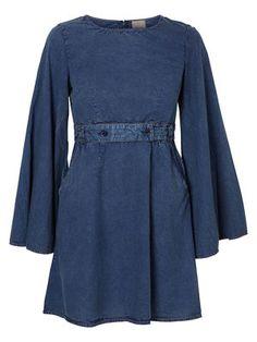 BELTED DRESS, Dark Blue Denim