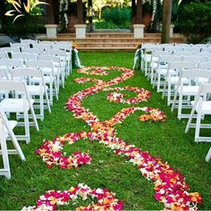The flowers blend as you walk down the aisle. I love this