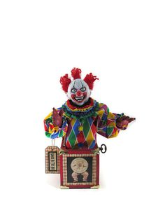 Your place to buy and sell all things handmade Holiday Decorating, Decorating Ideas, Pop Goes The Weasel, Send In The Clowns, Jack In The Box, Circus Clown, Great Fear, Creepy Clown, Evil Clowns