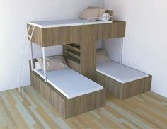 Conserving Space And Staying Trendy With Triple Bunk Beds Wonderful Ideas of Triple Bunk Beds for Your Kids' BedroomDitch the traditional Bunk Beds for these 10 fresh Free DIY Bunk Bed Plans & Ideas that Will… Bunk Beds With Stairs, Kids Bunk Beds, Cool Bunk Beds, Bunk Bed Ideas For Small Rooms, Corner Bunk Beds, Modern Bunk Beds, Loft Spaces, Small Spaces, Bedroom Furniture