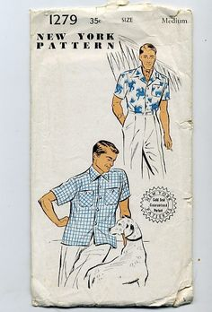 Vintage New York Pattern 1279 Men's Medium Sport Shirt by 51VC, $12.00   I would so use this to make Hawaiian shirts for my Dad hehe.