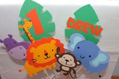 Safari Jungle Animals Centerpiece by PrettyPaperPaige on Etsy, $30.00