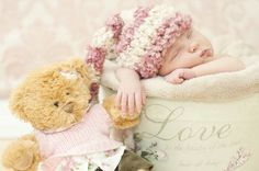 Inspiration For New Born Baby Photography : Baby w bear