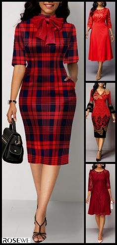 Women 2020 Spring Break Red Plaid Sheath Dress - Lilly is Love Latest African Fashion Dresses, African Print Fashion, Women's Fashion Dresses, Dress Outfits, Spring Break, Summer, Yeezy Fashion, Look Fashion, Womens Fashion