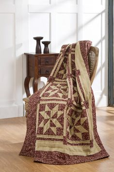 Patchwork Quilted Throw Evelyn Red Tan Country Quilt FREE SHIPPING #MarketStreet #Country
