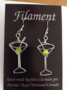 I'll Drink to That: Wire Martini Glass Earrings by HeatherBoydWire
