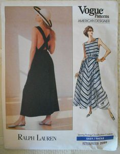 Vintage Vogue 2289 Ralph Lauren Backless Summer Dress Sz 12 14 16 Uncut for sale online Vogue Sewing Patterns, Vintage Sewing Patterns, Sewing Ideas, Vintage Vogue, Vintage Fashion, Sundress Pattern, Evening Dress Patterns, Miss Dress, Straight Dress