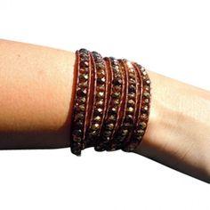 Beaded Leather Wrap Bracelet - Copper & Brown #bracelets #fashion #jewelry  9thelm.com