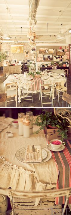 I really love that ruffle around the table cloth! it's so pretty, and brings a major vintage flare.