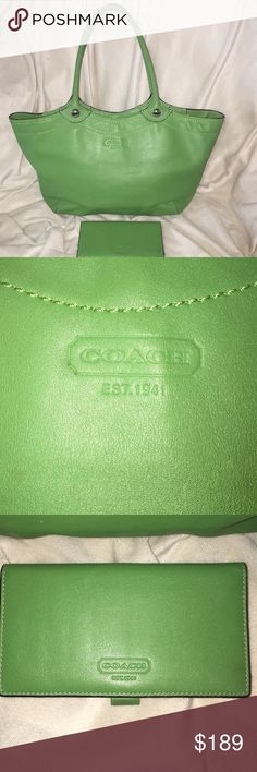 """Coach Bleaker leather tote and Wallet Coach Leather Bleeker Tote   Excellent pre-loved condition  Barely ever worn ( green is not really my color☹️)  100% Authentic  Purchased direct from Coach  Style: F14383  Color: Palm Green  •Leather  •Zip top closure, fabric lining  •Inside zipper and multifunction pockets  •Outside open pocket  •Dual handles with 10"""" drop  •Approx. 11""""L x 10""""H x 5 1/2""""W  • comes with matching fold wallet coach Bags Totes"""