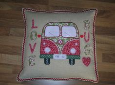 VW Campervan applique cushion I made for my hubby to celebrate a special birthday!