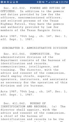 Texas chapter 411.032 powers and duties of officers