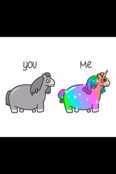 Pink fluffy unicorn is dancing on rainbow...sorry had to post/pin!