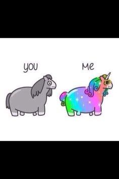 Pink fluffy unicorn is dancing on rainbow...