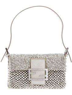 Fendi Snakeskin-Trimmed Beaded Mini Baguette Bag w/ Tags Mini Baguette, Dior, Beaded Clutch, Oui Oui, Metal Beads, Beautiful Bags, Beautiful Handbags, My Bags, Evening Bags