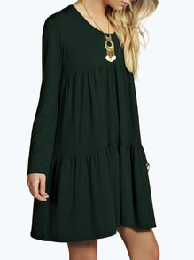 Dark Green Round Neck Pleated Babydoll Dress -SheIn(Sheinside)