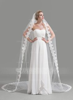 Cathedral Bridal Veils Tulle One-tier Drop Veil Lace Applique Edge Applique 118.11 in (300cm) White Ivory Ivory Spring Summer Fall Winter A-line/Princess Ball Gown Empire Color & Style representation may vary by monitor 0.26kg 118.11 in (300cm) Wedding V