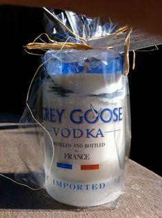 Recycled Wine/ Liquor Bottle Candle Grey Goose Vodka by vintagewix Liquor Bottle Crafts, Bottle Candles, Mason Jar Candles, Liquor Bottles, Bottles And Jars, Candle Set, Glass Bottles, Vodka Bottle, Liquor Glasses
