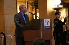 MOHR President Mike Burke rallies the crowd at the Minnesota Capitol.
