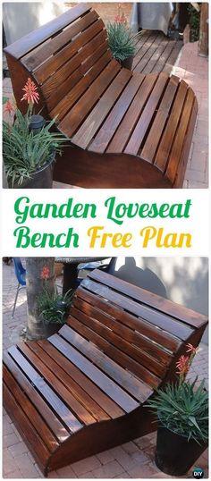 DIY Garden Slat Bench Loveseat Instructions - Outdoor Garden Bench Ideas  #Furniture #woodworkingbench