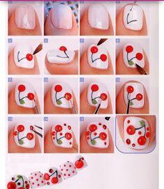 20 Creative Nails Tutorials Easy To Make Colorful Nail Designs, Beautiful Nail Designs, Cool Nail Designs, Nail Art Diy, Diy Nails, Cute Nails, Diy Manicure, Cherry Nail Art, Kawaii Nail Art
