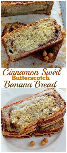 Brown Sugar Cinnamon Swirl Butterscotch Banana Bread - Ultra moist and flavorful banana bread is swirled with cinnamon and topped with butterscotch glaze, this is a MUST PIN for serious banana bread lovers!
