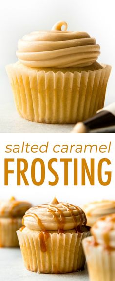 5 ingredients and so easy! This new & improved salted caramel frosting is ultra … 5 ingredients and so easy! This new & improved salted caramel frosting is ultra creamy and downright addicting. Caramel Buttercream Frosting, Salted Caramel Frosting, Icing Frosting, Carmel Frosting Recipe, Caramel Cake Filling, Salted Caramel Desserts, Dessert Simple, Cupcake Recipes, Dessert Recipes