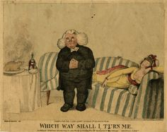 Satire on the clergy; a plump clergyman stands between a bare-breasted young woman reclining on a sofa and a table laid with a roast sucking pig and a bottle of claret; his eyes are turned to the latter. 1794  Etching and stipple, hand-coloured