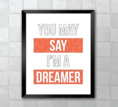 John Lennon  Imagine  Song Lyric Quote 8x10 by LyricWall on Etsy