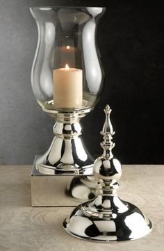Hurricane Candle Holder Silver