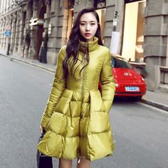 Down Parka For Women Winter Jacket Coats 2016 Thickening Long Section Big Swing Fahison Duck Down Jacket Women Femme Yellow Y341 US $59.40 To Buy Or See Another Product Click On This Link  http://goo.gl/yekAoR