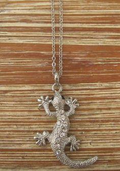 Rhinestone Lizard Necklace