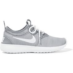 Nike Juvenate rubber and jersey sneakers ($100) ❤ liked on Polyvore featuring shoes, sneakers, athletic shoes, grey, striped jersey, grey shoes, nike footwear, grip trainer and grey sneakers