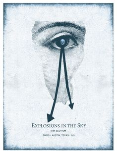 Explosions In The Sky, Eluvium poster designed by Justin Walsh Rock Posters, Concert Posters, Gig Poster, Music Covers, Album Covers, Post Rock, Viera, Deathly Hallows Tattoo, Cover Art