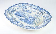 "Staffordshire Antique 18th Century Beautiful 19"" Blue Transferware"