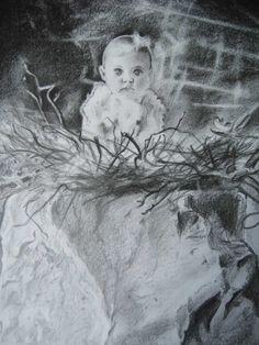 Bébé dans un nid, valeur de gris sur A4