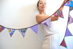 The Pure Purple Oilcloth Garland / Bunting for party / by Vebo