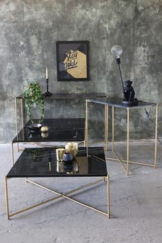 Carrara Marble Console Table - Black Marble - Console Tables - Furniture